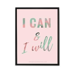 girl boss motivational office wall art decor, I can and I will quote