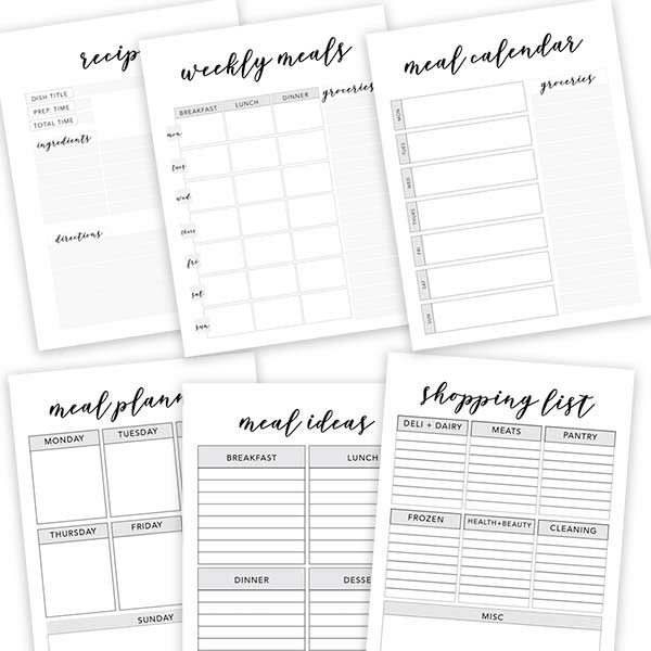 free meal planner sheets, recipe card printable, shopping list printable, weekly meal planner printable