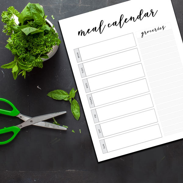 free printable meal planner, free printable grocery list for meal planning