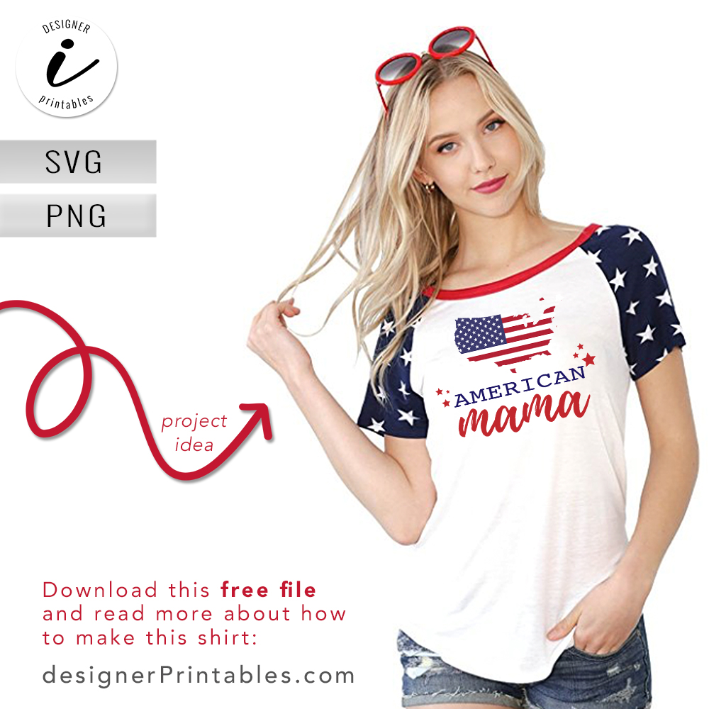free svg cut file, free American mama vector file, American mama shirt, vinyl cut idea, 4th of July svg files