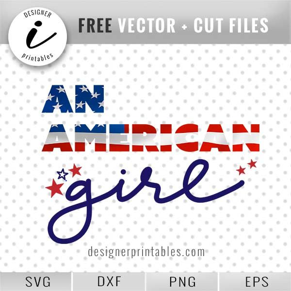Free SVG: , An American Girl - flag