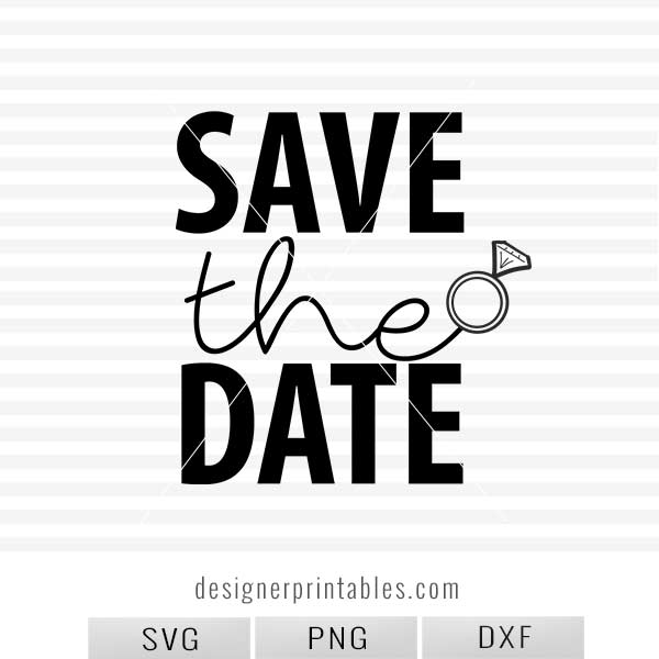 SVG, PNG, DXF: Save the Date (wedding ring)