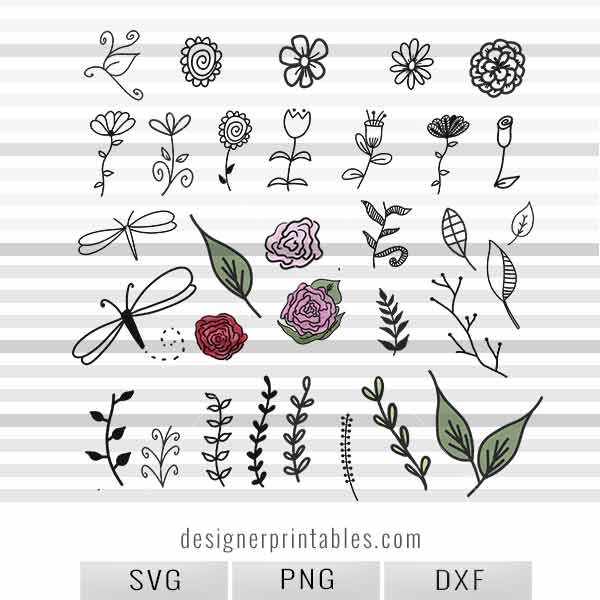flower svg, watercolor flower svg, floral elements, floral element svg, flower printables, svg cut file