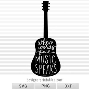 svg cut file silhouette guitar with quote about music