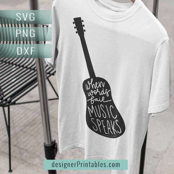 svg png printable silhouette guitar with quote about music