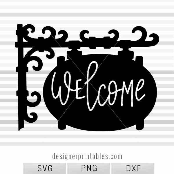 svg welcome sign, hand lettered svg, silhouette sign