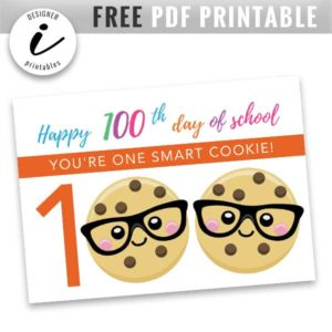 free 100th day of school printable, free school printable, hundredth day of school printable, free 100 days of school printable,