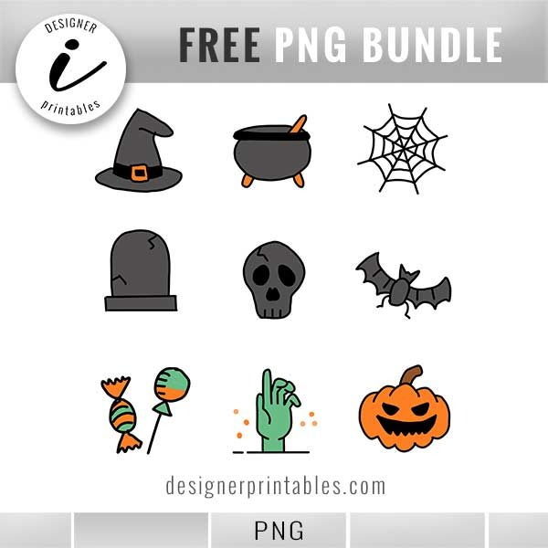 photograph relating to Halloween Stickers Printable identified as Free of charge PNGs: , Hand Drawn Halloween Stickers