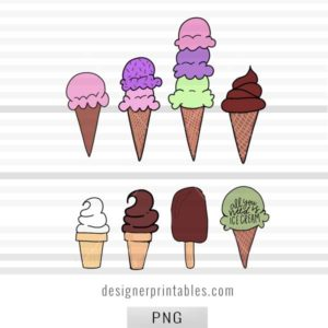 digital stickers, digital planner, bujo stickers, ice cream cone doodles, bujo doodle inspiration, ice cream cone drawing
