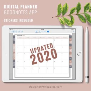 2020 calendar, 2020 digital planner, 2020 planner for goodnotes app, printable planner sheet