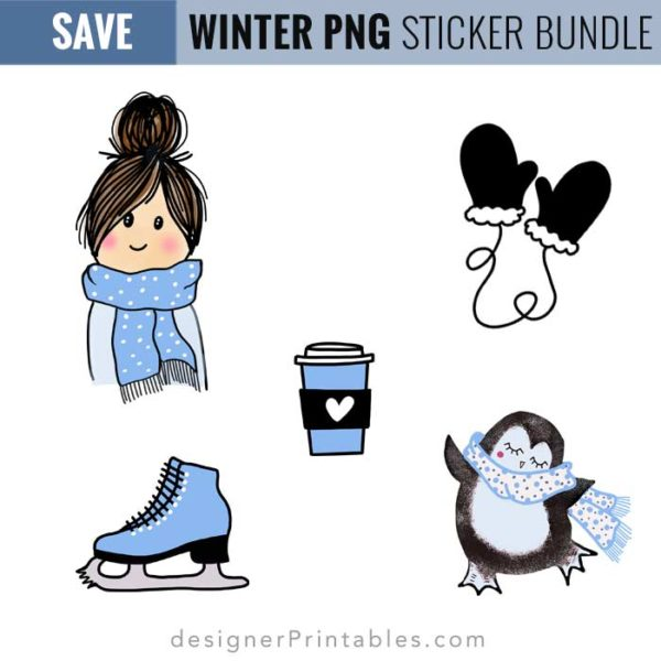 winter sticker collection, winter planner stickers, planner stickers, girl doodle with messy bun sticker, penguin sticker, cricut print and. cut stickers, mittens, ice skate clipart, winter clipart