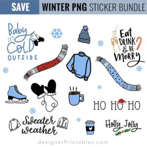 digital planner stickers, winter sticker bundle, planner sheet stickers, happy planner stickers, winter planner stickers, winter printables