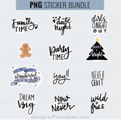 free planner sticker sheet, planner quotes, motivational quote sticker sheet, cricut print and cut, free holiday quotes svg, holiday printables, free planner printables