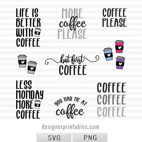 free svg cut file, svg cut file, svg coffee bundle, coffee bundle svg cut files, coffee lover svg cut files, cricut cut files, silhouette svg cut files