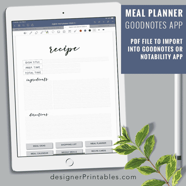 image about Free Digital Planner Pdf titled Electronic Dinner Planner (GoodNotes Application)