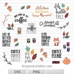 fall svg bundle, fall svg cut files, fall clipart, fall Printables