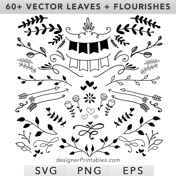 leaves svg, flourish svg, flourish vector, leaves vector, banner svg, leaves and floral vector elements
