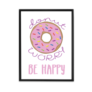 donut worry be happy printable poster, super cute wall art