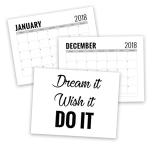 free printable calendar 2018, free printables, free svg cut files