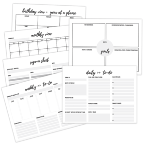 free pdf planner sheet printables with calendar and goal checklist