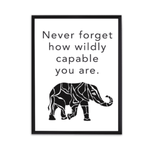 free printable motivational quote, never forget how wildly capable you are
