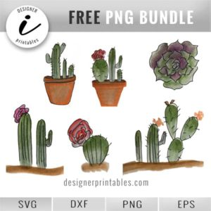 free cactus and succulent printable png, cactus clipart, succulent clipart, succulent decor