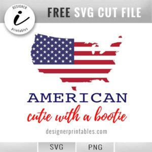 free svg 4th of July, July 4th svg, American cutie bootie, free holiday svg