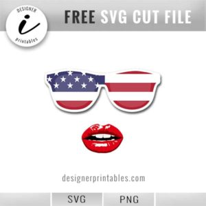 free printable, American flag sunglasses and glossy lips svg
