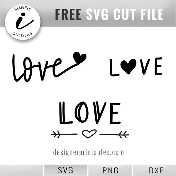 Free Svg Hand Lettered Love With Hearts Designer Printables