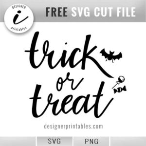 free trick or treat svg, free halloween svg, bat svg, candy svg, hand lettered svg