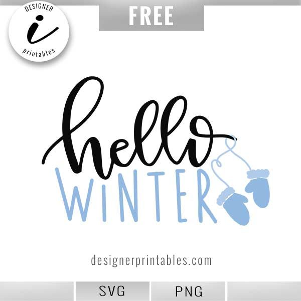 free hello winter svg, winter svg, free winter svg, seasonal svg, popular winter svg, hello winter mittens svg