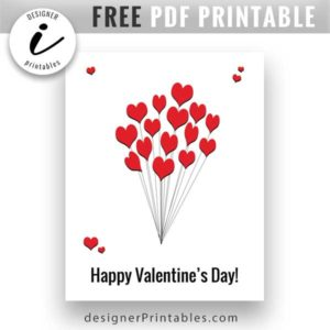 happy valentines day, valentines day printable, free valentines day card printable, free valentine card printable, free heart balloon bouquet card printable