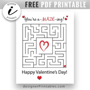 free valentine card printable, free youre amazing valentine day card, free maze valentines day card, free pdf printable valentines day