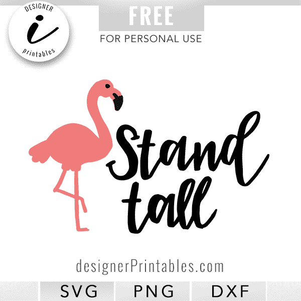 free svg cut file, free stand tall flamingo svg, svg designs, cricut design space files