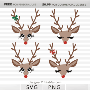 free christmas reindeer svg, free holiday svg, free reindeer png, free christmas reindeer clipart printable