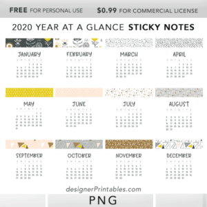 free digital sticky notes, free calendar sticky notes, free 2020 calendar year at a glance, free digital bullet journal, sticky notes for woodnotes app, free stickers for goodnotes app and notability
