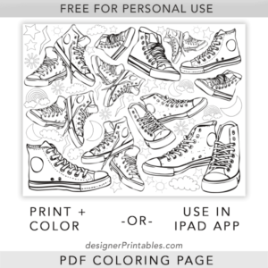 free printable coloring page, free printable converse sneaker coloring page, free coloring page printable, free pdf color sheet