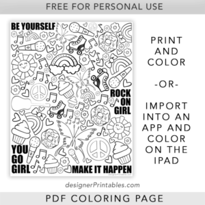 free printable color page, free printable for girls, free coloring sheet for girls, free printable, free digital coloring page