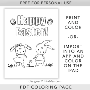free printable color page, free kids color page, free happy easter bunny color page, free easter Printables for coloring, easter bunny coloring page