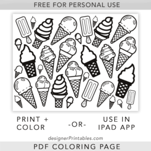 free printable coloring sheet, free printable coloring page, free ice cream cone printable, free summer coloring page printable pdf
