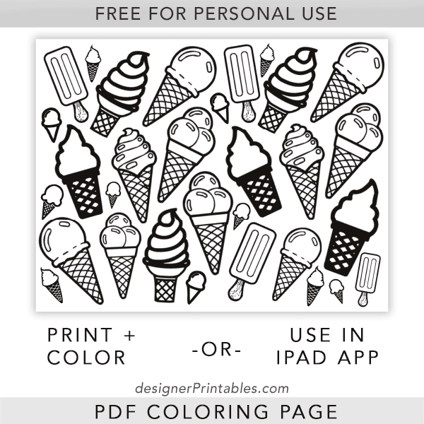 Ice cream coloring pages for kids, printable | coloing-4kids.com | 600x600
